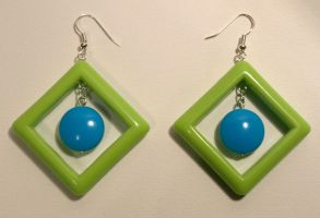 Pop earrings_green and blue by serenainwonderland