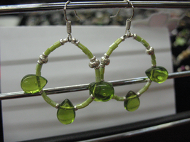 Green tear bead Earrings. by sampdesigns
