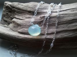 Pale Aqua Chalcedony~ Tiny Pearls Mermaid Necklace by QuintessentialArts
