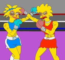 Request - Lisa vs Maggie by eymoitz
