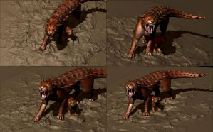 Dragoncat and cub composition variations by nekonotaishou