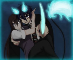 Blue Exorcist-Rin Protecting Rikako by TFAfangirl14