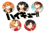 Haikyuu! Button Set by hai-do