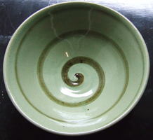 Celadon with Iron swirl bowl by Yume-Ceramics