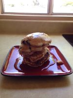 Chocolate chip-banana pancakes for my late sister by Quinstiff