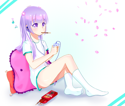 Spring Snack! - Aoba Suzukaze FANART - New Game! by Eiveon