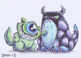 Funny cat ACEO Monsters Inc by KingZoidLord