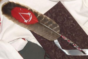 Feather of the Creed III handpainted featherquill by Ganjamira