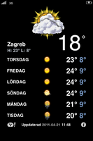 WP7 weather look for iPhone by ProjektGoteborg