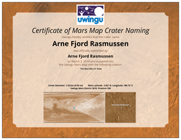 I have a mars crater named after me :-) by Ingostan