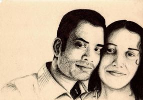 Indian Couple - Ballpoint Pen by mastervali