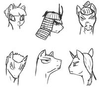 Asian pony sketches by WhatTheScoots