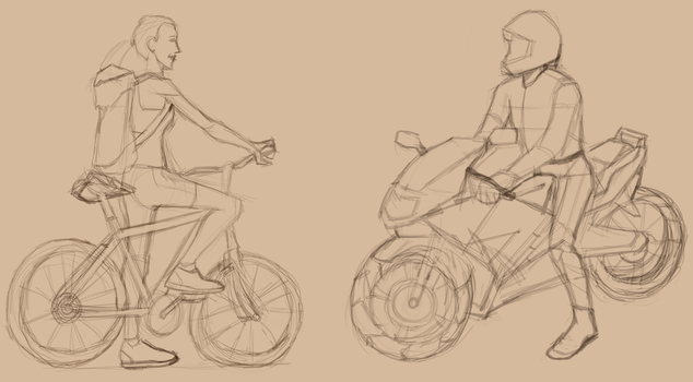 Bicycle vs. Motorcycle. by L0ni