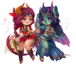 Dance - chibi commission by clover-teapot