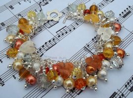 Orange, yellow, white and silver cluster bracelet by TerraNovaJewels