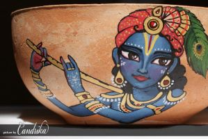 PANIHATI pot -Lord Krishna playing flute by candrika108
