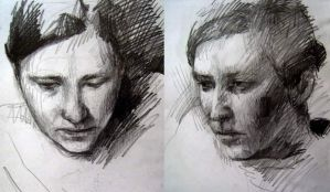 Pencil sketches of Marta by nailone