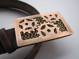 Copper and Brass Steampunk Belt Buckle by kenshin1387