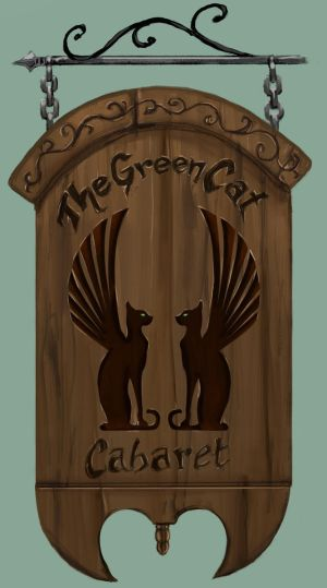 Green Cat Cabaret Tavern Sign by Ronron84