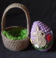 Easter egg and basket bunny by meekssandygirl