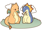 COMMISSION: Typhlosion and Charizard by SeviYummy