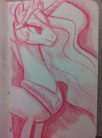 Celestia in Red Pencil by Ceehoff