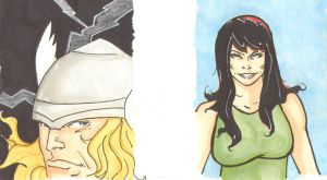 Thor and MJ sketch cards by wheels9696