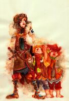 Boromir and hobbits by faQy