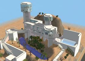 Sims 2 Futuristic Hillside Mansion by RamboRocky