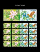 Spring flower stamps by marron