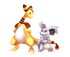 Commission: Ampharos x Nidorina