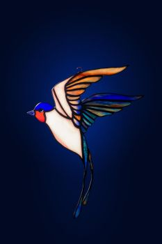 Stained glass suncatcher Swallow by zyklodol