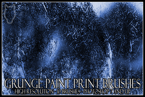 Grunge Paint Print Brushes by radelaidian-stock
