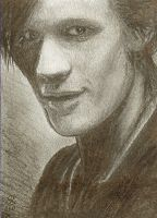 11th doctor - sketch card by slave-roc
