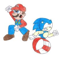 Mario and Sonic by SomePkmn-LovingDude