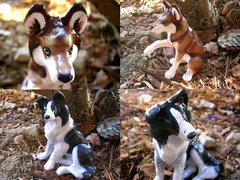 Loki And Ginger Dog Sculptures by WildSpiritWolf