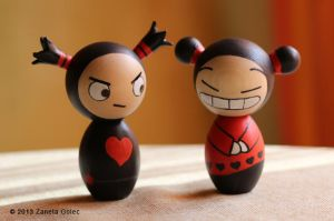 Pucca and Garu Inspired Kokeshi dolls by ZanetaGc
