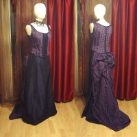 Purple bustle gown by azdaja