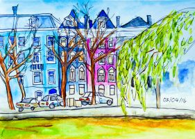 Amsterdam Canal Houses by Charlene-Art