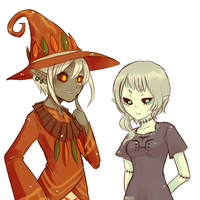 zelda gijinka -- skull kid and imp poe by onisuu
