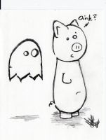 Pig and Ghost by groovishwonder