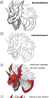 Megalogrowlmon proceso by RinaTiger-Art
