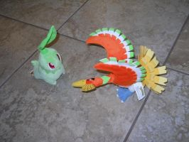 Chikorita and Ho-oh Plushies by TheLimeTangerine