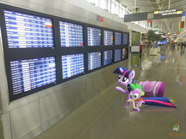 Twilight and Spike scanning the flight schedule by OJhat