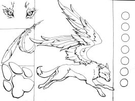 Winged Wolf Lineart by mooing-duckerberry