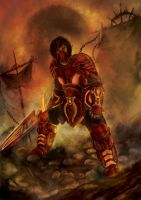 Red Mechanic Warrior by djambronx