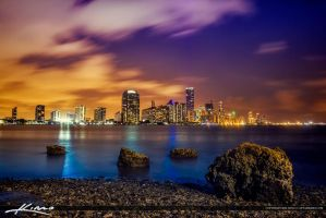 Miami-Skyline-After-Sunset-Downtown-Building-L by CaptainKimo