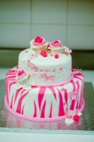 Pink zebra stripped baptism cake by buttercreamfantasies