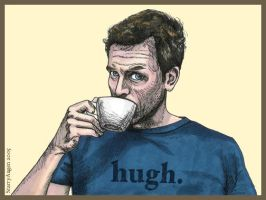 Hugh Laurie Drinking Tea by StarryAugen