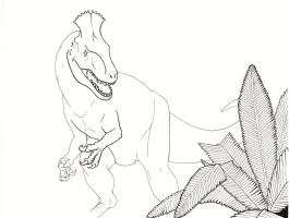 King of the South: Cryolophosaurus ellioti WIP by painted-wolfs-den
